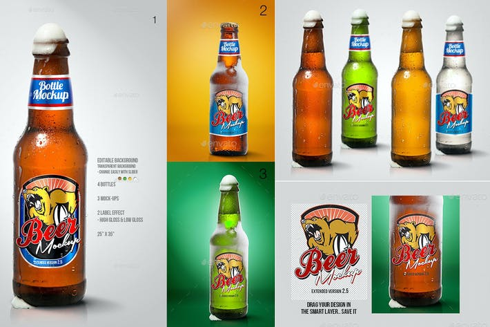 Thumbnail for Beer Bottle Mockup V2.5