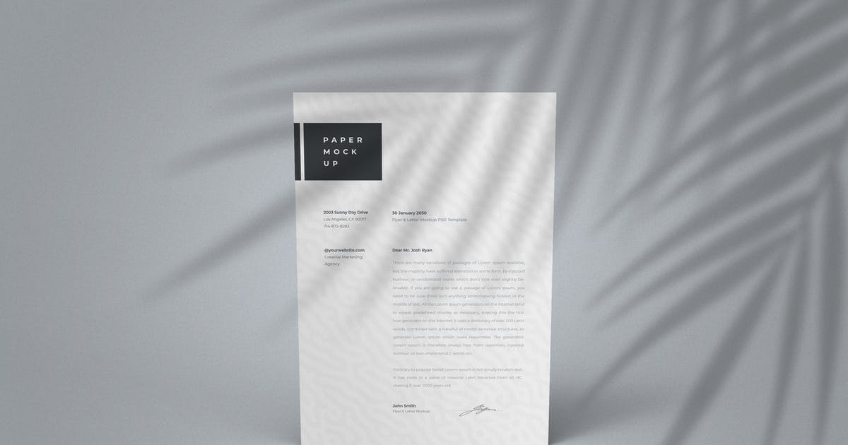 Download A4 Paper Mockup PSD Template with Shadow Overlay by ExplicitConcepts