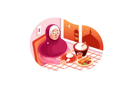 Enjoy Iftar Meal in Ramadan illustration