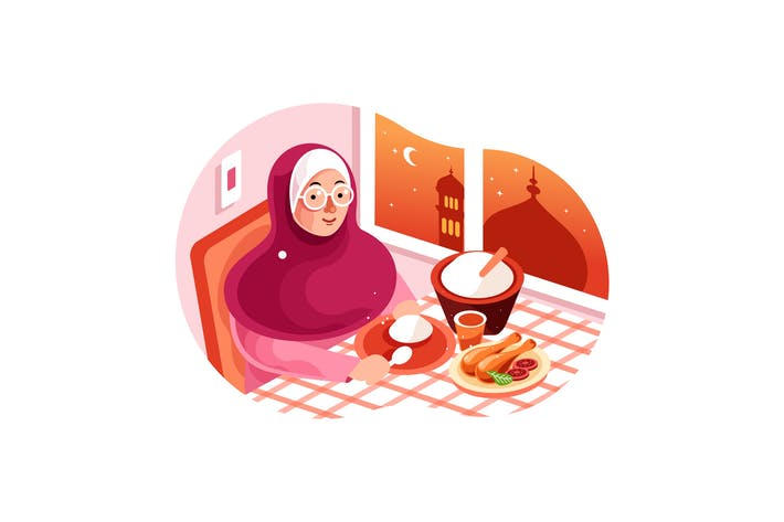 Thumbnail for Enjoy Iftar Meal in Ramadan illustration