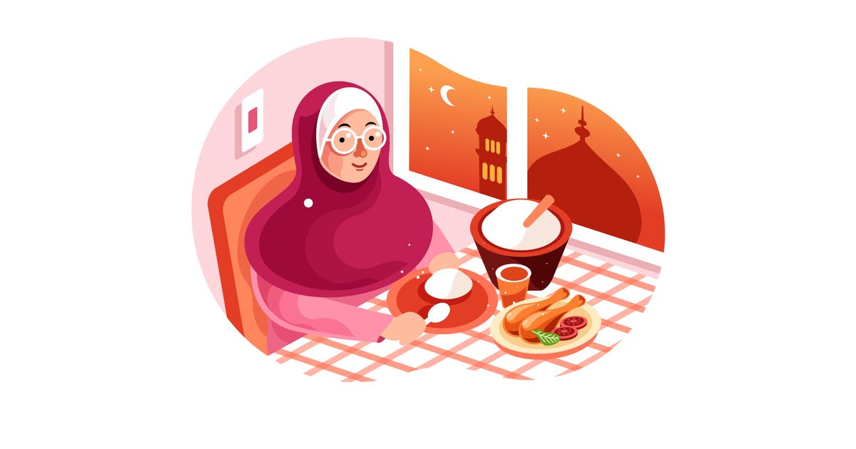 Download Enjoy Iftar Meal in Ramadan illustration by IanMikraz