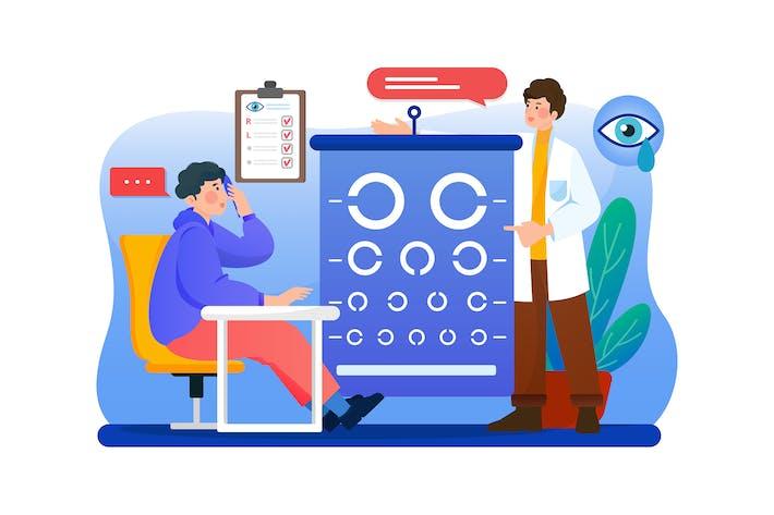 Optometrist vision examination consultation.