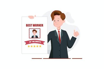L' homme tient une affiche Le meilleur travailleur du mois