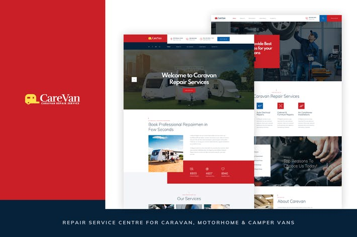Thumbnail for Carevan - Repair Centre for Caravans PSD Template