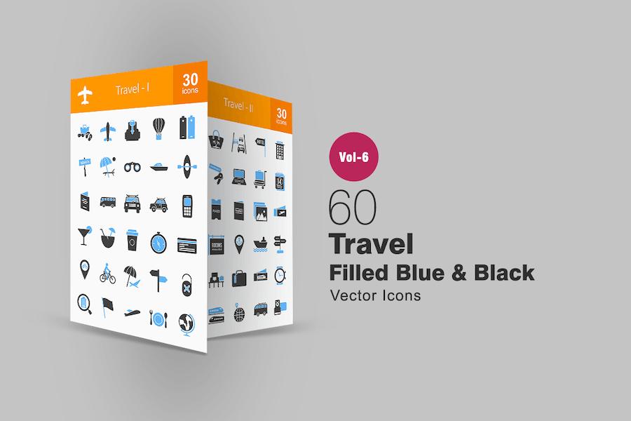 60 Travel Blue & Black Icons