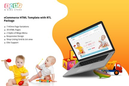 Baby & Kids Store eCommerce HTML Template with RTL