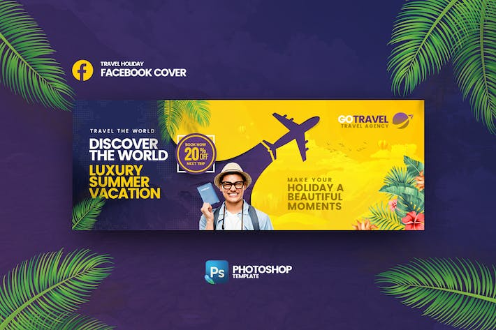 Thumbnail for Go Travel Facebook Cover Photoshop Template