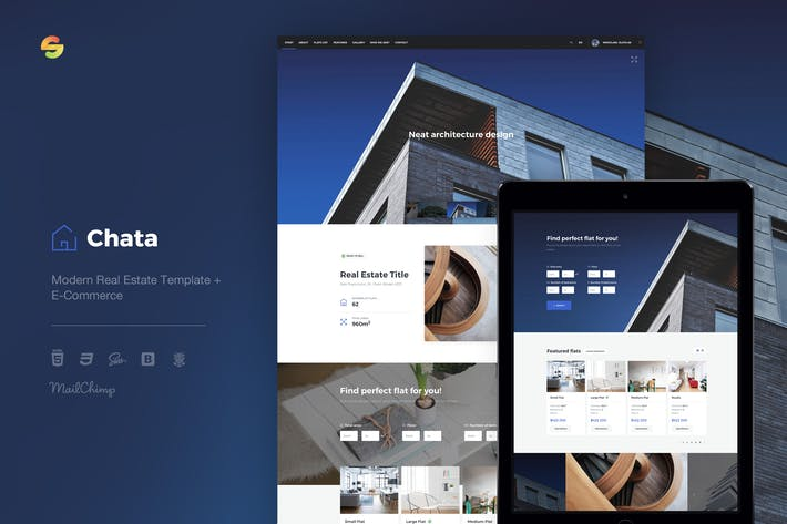 Thumbnail for Chata - Modern Real Estate Template + E-Commerce