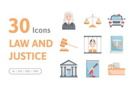 30 Icons für Recht und Gerechtigkeit