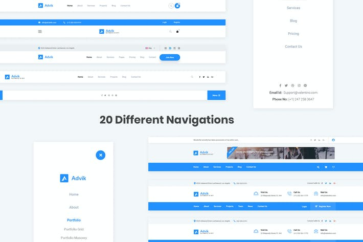 Thumbnail for 20 Navigations Design for Web-UI Kit