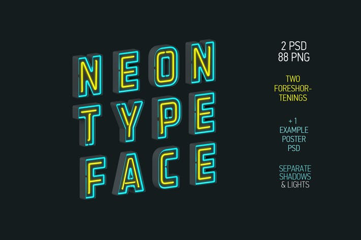 Thumbnail for Neon Typeface (3 PSD, 88 PNG)