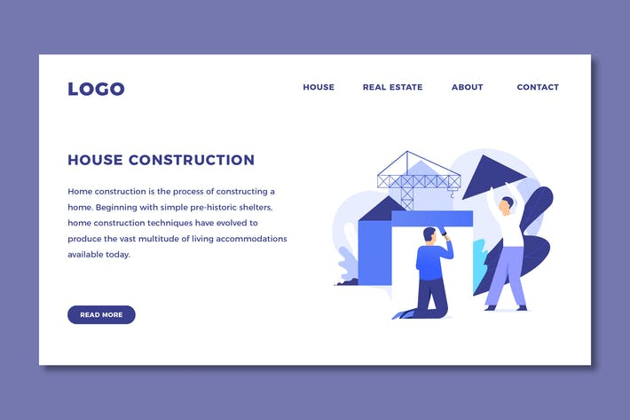 Thumbnail for House Construction - Landing Page Template