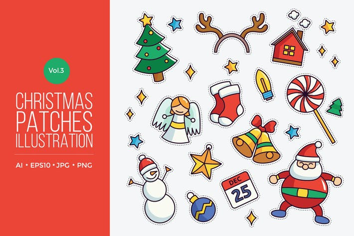 Cover Image For Cute Merry Christmas Patches Vector Vol.3