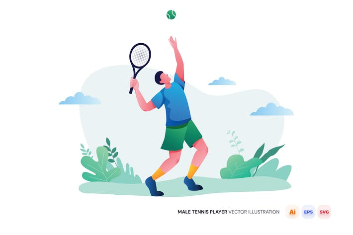 Male Tennis Player Vector Illustration