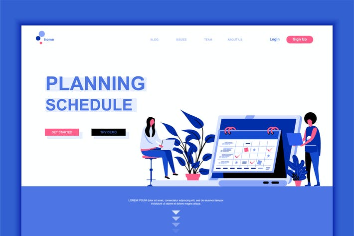 Thumbnail for Planning Schedule Flat Landing Page Template