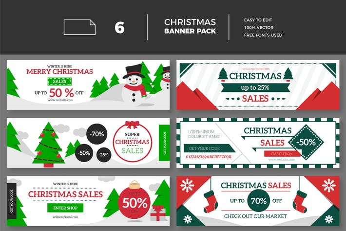 Thumbnail for Christmas Sales Banner Collection