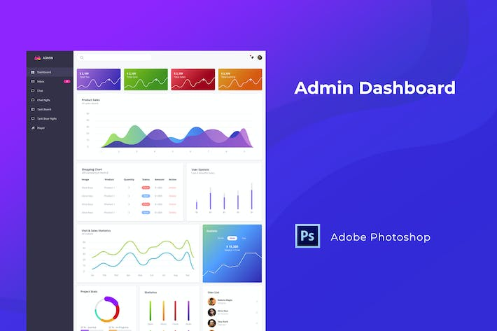 Thumbnail for Admin Dashboard Template for Photoshop
