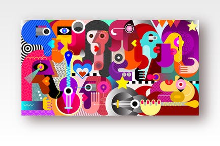 Group of People at a Music Festivalvector artwork