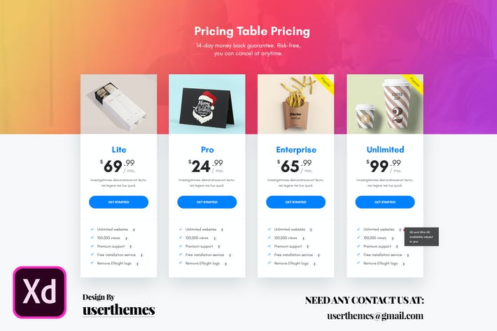 Thumbnail for Business Pricing Table Adobe XD Template