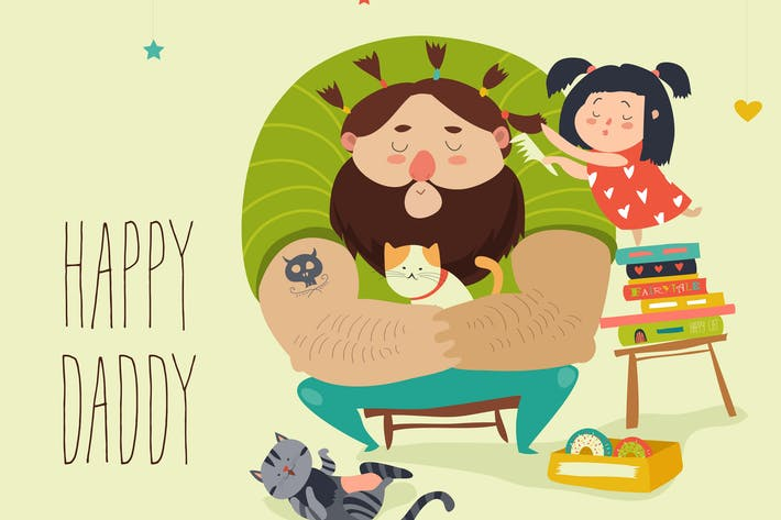 Thumbnail for Happy daughter makes a hairdo for dad. Vector