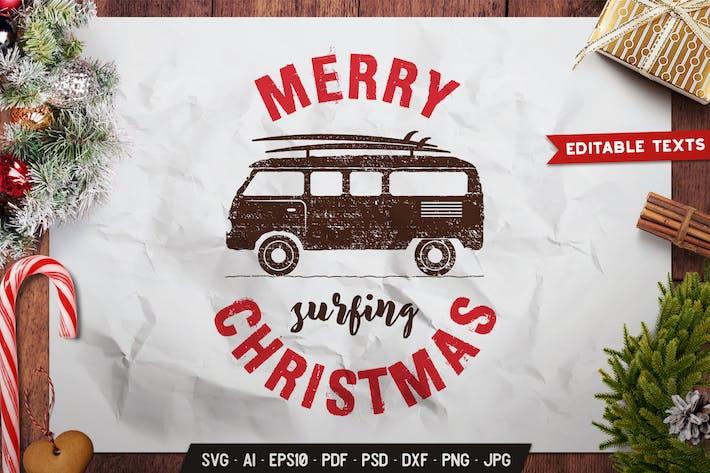 Frohe Surfen Weihnachten Jahr Logo Vektor grafik