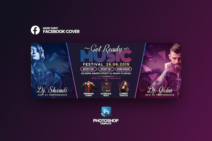 Thumbnail for Music Events Facebook Cover Template