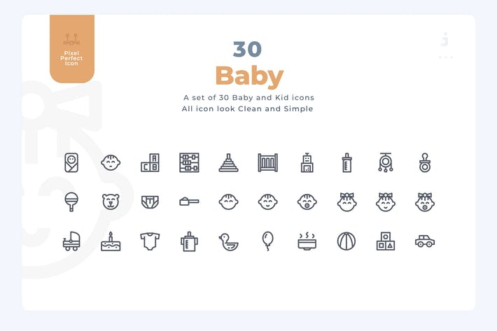 Cover Image For 30 Baby Icons - Material Icon