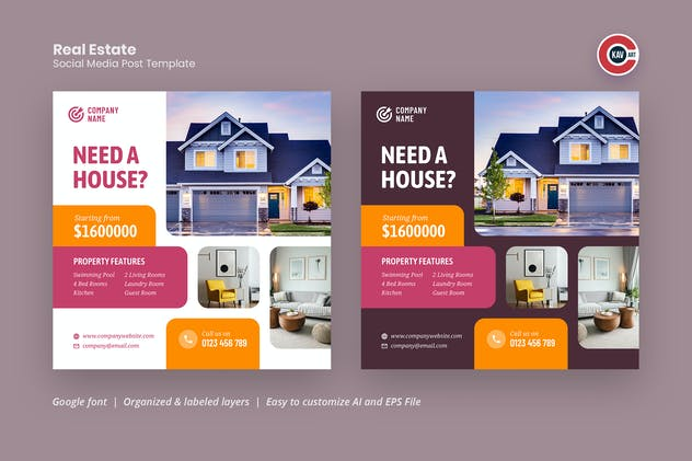 House Rent or Sale Social Media Post Template