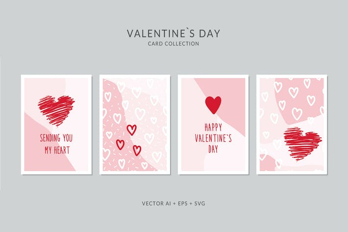 Cover Image For Valentines Day Card Vector Set