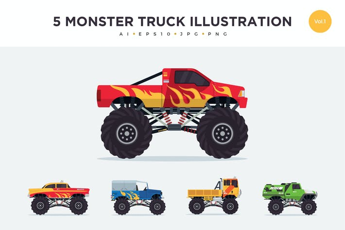 Thumbnail for 5 Monster Truck Vector Illustration Set 1