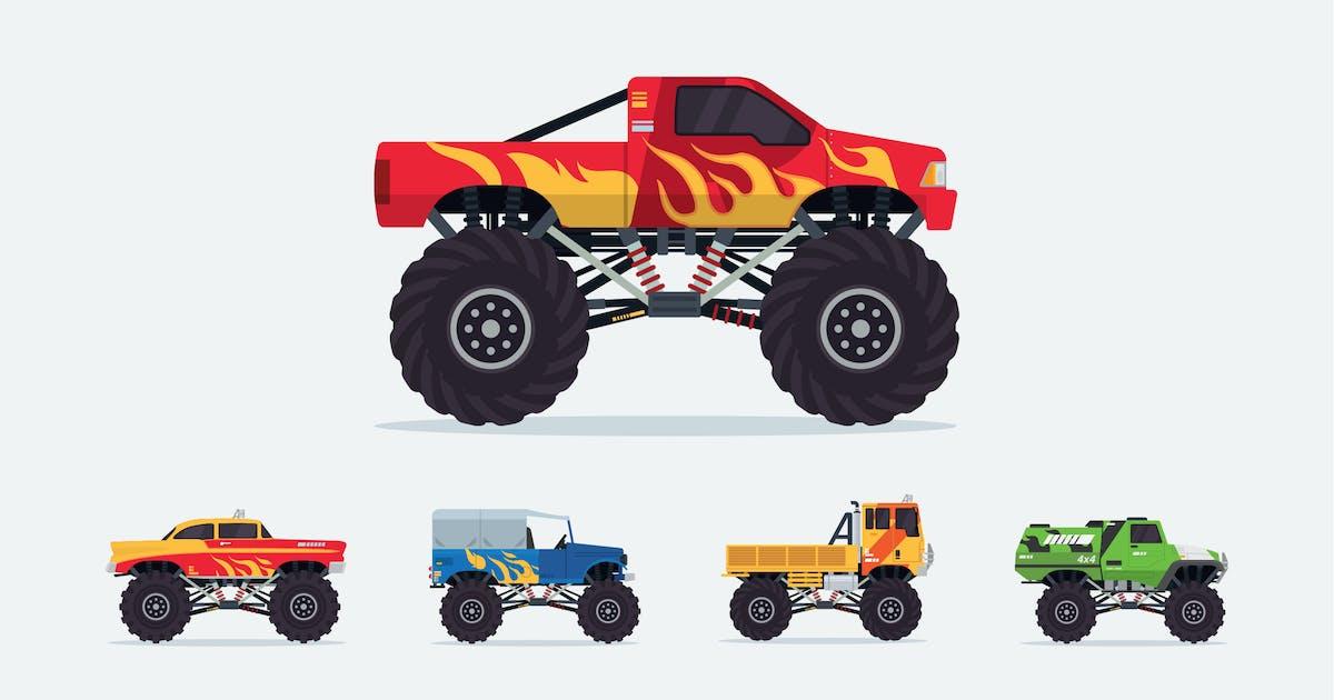 Download 5 Monster Truck Vector Illustration Set 1 by naulicrea