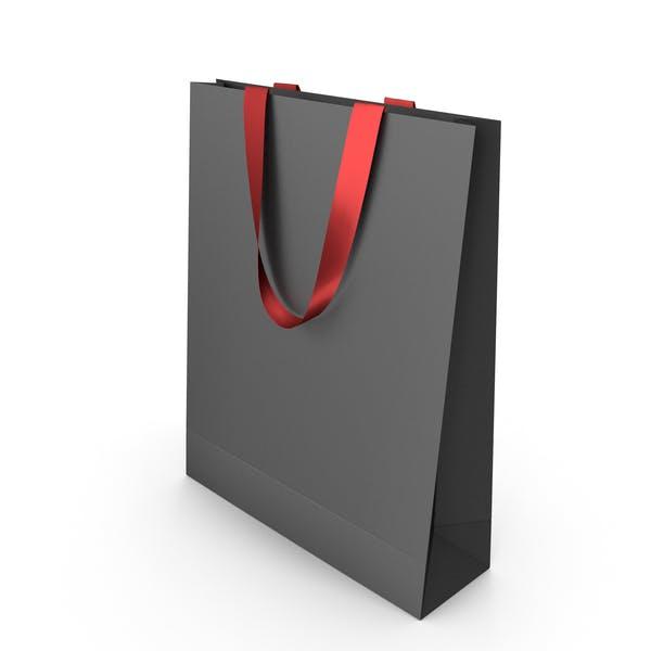 Черная бумажная сумка с красными ручками