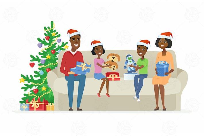 Familie öffnet Weihnachtsgeschenke - Illustration