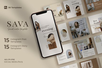 Sava - 30 Instagram Post & Story Template