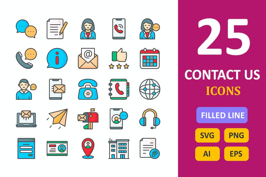 25 Contact Us Icons -  Filled Line