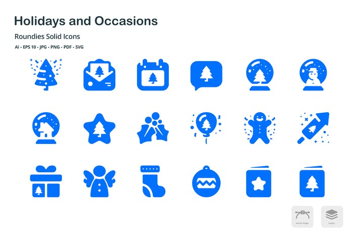 Thumbnail for Holidays and Occasions Roundies Solid Glyph Icons