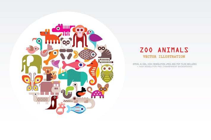 Thumbnail for Zoo Animals round shape vector illustration