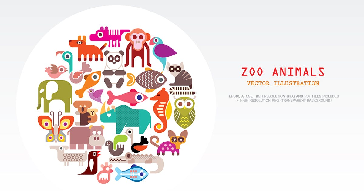 Download Zoo Animals round shape vector illustration by danjazzia