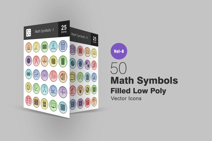 Thumbnail for 50 Math Symbols Filled Low Poly Icons