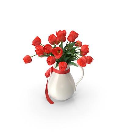Jarrón con Tulipanes Rojo
