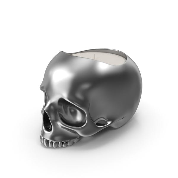 Silver Skull Head Candle