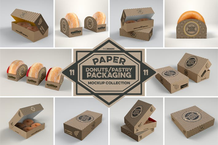 Cover Image For Paper Food Box Packaging Mockup Collection Vol.11