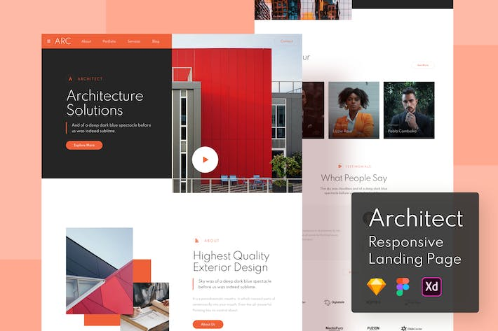 Thumbnail for Architect Responsive Landing Page