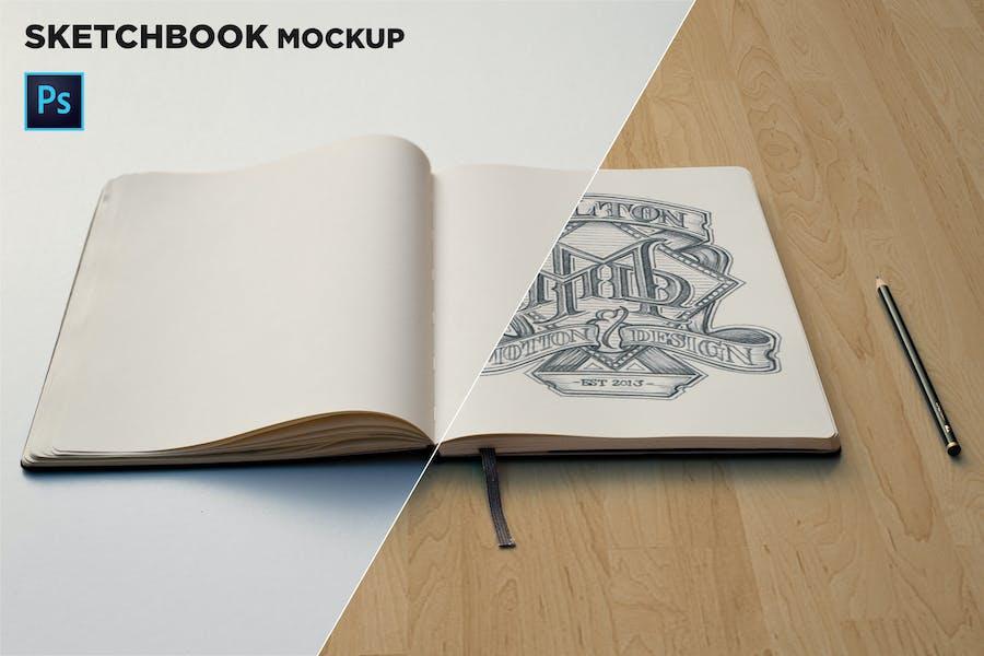 Sketchbook Mockup Front View