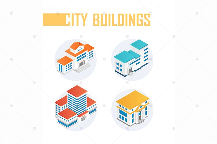 Thumbnail for Public city buildings - isometric elements