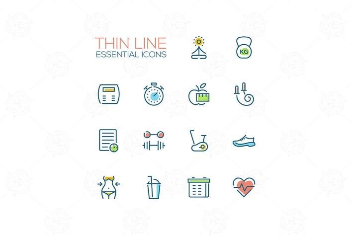 Thumbnail for Diet and Fitness - Thin Single Line Icons Set