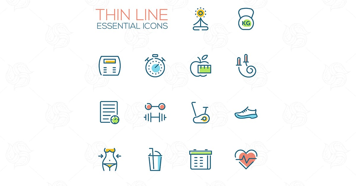 Diet and Fitness - Thin Single Line Icons Set by BoykoPictures