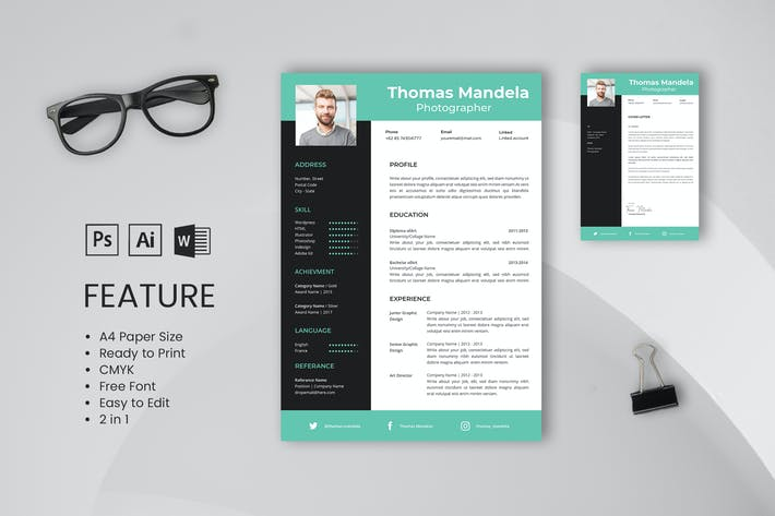 Thumbnail for Professional CV And Resume Template Thomas Mandela