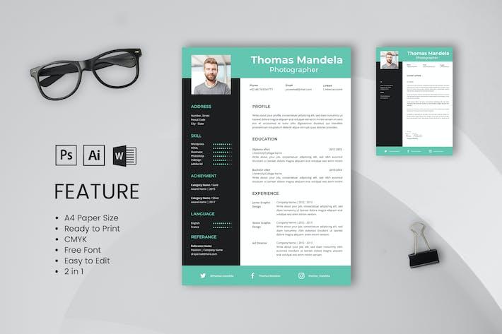 Thumbnail for Профессиональный Шаблон резюме и резюме Томас Мандела