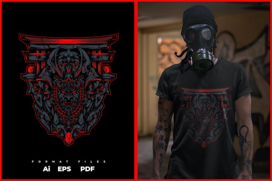 Samurai Illustration für T-Shirt-Design